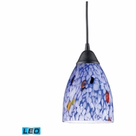 406-1BL-LED ELK Lighting Classico 1-Light Mini Pendant in Dark Rust with Starburst Blue Glass - Includes LED Bulb