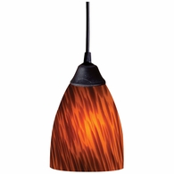 406-1ES ELK Lighting Classico 1-Light Mini Pendant in Dark Rust with Espresso Glass