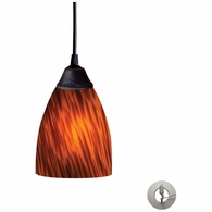 406-1ES-LA ELK Lighting Classico 1-Light Mini Pendant in Dark Rust with Espresso Glass - Includes Adapter Kit