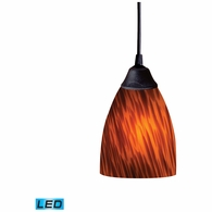 406-1ES-LED ELK Lighting Classico 1-Light Mini Pendant in Dark Rust with Espresso Glass - Includes LED Bulb