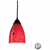 406-1FR-LA ELK Lighting Classico 1-Light Mini Pendant in Dark Rust with Fire Red Glass - Includes Adapter Kit