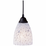 406-1SW ELK Lighting Classico 1-Light Mini Pendant in Dark Rust with Snow White Glass