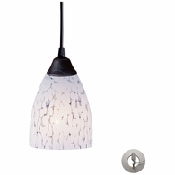 406-1SW-LA ELK Lighting Classico 1-Light Mini Pendant in Dark Rust with Snow White Glass - Includes Adapter Kit
