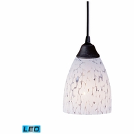 406-1SW-LED ELK Lighting Classico 1-Light Mini Pendant in Dark Rust with Snow White Glass - Includes LED Bulb