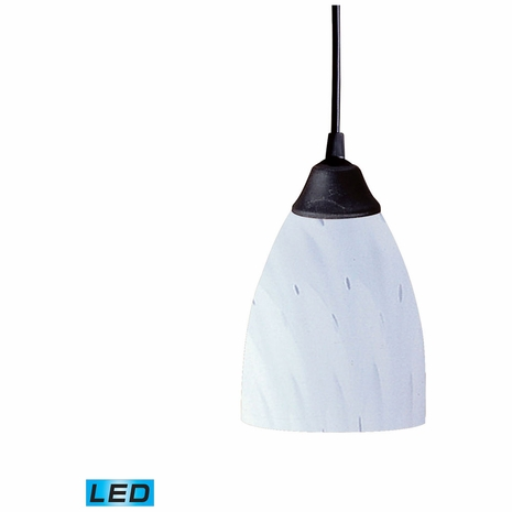 406-1WH-LED ELK Lighting Classico 1-Light Mini Pendant in Dark Rust with Simple White Glass - Includes LED Bulb