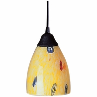 406-1YW ELK Lighting Classico 1-Light Mini Pendant in Dark Rust with Yellow Blaze Glass