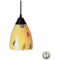 406-1YW-LA ELK Lighting Classico 1-Light Mini Pendant in Dark Rust with Yellow Blaze Glass - Includes Adapter Kit