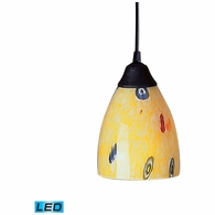 406-1YW-LED ELK Lighting Classico 1-Light Mini Pendant in Dark Rust with Yellow Blaze Glass - Includes LED Bulb