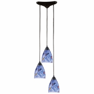 406-3BL ELK Lighting Classico 3-Light Triangular Pendant Fixture in Dark Rust with Starburst Blue Glass