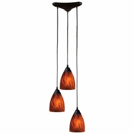 406-3ES ELK Lighting Classico 3-Light Triangular Pendant Fixture in Dark Rust with Espresso Glass