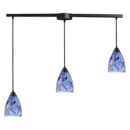 406-3L-BL ELK Lighting Classico 3-Light Linear Pendant Fixture in Dark Rust with Starburst Blue Glass