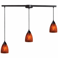 406-3L-ES ELK Lighting Classico 3-Light Linear Pendant Fixture in Dark Rust with Espresso Glass