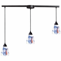 406-3L-MT ELK Lighting Classico 3-Light Linear Pendant Fixture in Dark Rust with Mountain Glass