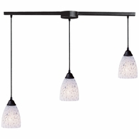406-3L-SW ELK Lighting Classico 3-Light Linear Pendant Fixture in Dark Rust with Snow White Glass