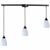 406-3L-WH ELK Lighting Classico 3-Light Linear Pendant Fixture in Dark Rust with Simple White Glass