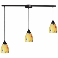 406-3L-YW ELK Lighting Classico 3-Light Linear Pendant Fixture in Dark Rust with Yellow Blaze Glass