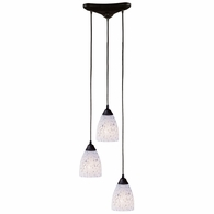406-3SW ELK Lighting Classico 3-Light Triangular Pendant Fixture in Dark Rust with Snow White Glass