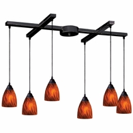 406-6ES ELK Lighting Classico 6-Light H-Bar Pendant Fixture in Dark Rust with Espresso Glass
