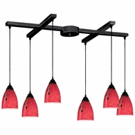 406-6FR ELK Lighting Classico 6-Light H-Bar Pendant Fixture in Dark Rust with Fire Red Glass