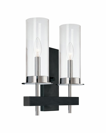 4062.54 Sonneman Tuxedo Contemporary Double Wall Sconce with Chrome and Black Finish