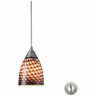 416-1C-LA ELK Lighting Arco Baleno 1-Light Mini Pendant in Satin Nickel with Coco Glass - Includes Adapter Kit