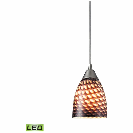 416-1C-LED ELK Lighting Arco Baleno 1-Light Mini Pendant in Satin Nickel with Coco Glass - Includes LED Bulb