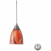 416-1M-LA ELK Lighting Arco Baleno 1-Light Mini Pendant in Satin Nickel with Multi-colored Glass - Includes Adapter Kit