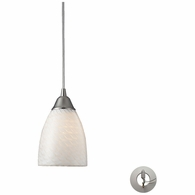 416-1WS-LA ELK Lighting Arco Baleno 1-Light Mini Pendant in Satin Nickel with White Swirl Glass - Includes Adapter Kit