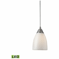 416-1WS-LED ELK Lighting Arco Baleno 1-Light Mini Pendant in Satin Nickel with White Swirl Glass - Includes LED Bulb