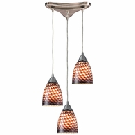 416-3C ELK Lighting Arco Baleno 3-Light Triangular Pendant Fixture in Satin Nickel with Coco Glass