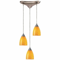 416-3CN ELK Lighting Arco Baleno 3-Light Triangular Pendant Fixture in Satin Nickel with Canary Glass