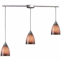 416-3L-C ELK Lighting Arco Baleno 3-Light Linear Pendant Fixture in Satin Nickel with Coco Glass