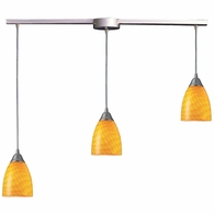 416-3L-CN ELK Lighting Arco Baleno 3-Light Linear Pendant Fixture in Satin Nickel with Canary Glass