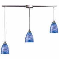 416-3L-S ELK Lighting Arco Baleno 3-Light Linear Pendant Fixture in Satin Nickel with Sapphire Glass