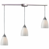 416-3L-WS ELK Lighting Arco Baleno 3-Light Linear Pendant Fixture in Satin Nickel with White Swirl Glass