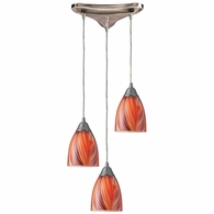 416-3M ELK Lighting Arco Baleno 3-Light Triangular Pendant Fixture in Satin Nickel with Multi-colored Glass