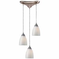 416-3WS ELK Lighting Arco Baleno 3-Light Triangular Pendant Fixture in Satin Nickel with White Swirl Glass