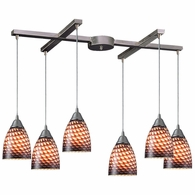 416-6C ELK Lighting Arco Baleno 6-Light H-Bar Pendant Fixture in Satin Nickel with Coco Glass