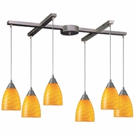 416-6CN ELK Lighting Arco Baleno 6-Light H-Bar Pendant Fixture in Satin Nickel with Canary Glass
