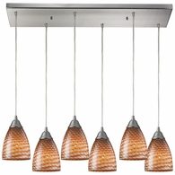 416-6RC-C ELK Lighting Arco Baleno 6-Light Rectangular Pendant Fixture in Satin Nickel with Coco Glass