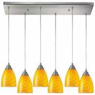 416-6RC-CN ELK Lighting Arco Baleno 6-Light Rectangular Pendant Fixture in Satin Nickel with Canary Glass