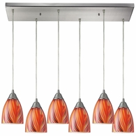 416-6RC-M ELK Lighting Arco Baleno 6-Light Rectangular Pendant Fixture in Satin Nickel with Multi-colored Glass