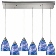 416-6RC-S ELK Lighting Arco Baleno 6-Light Rectangular Pendant Fixture in Satin Nickel with Sapphire Glass