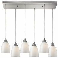 416-6RC-WS ELK Lighting Arco Baleno 6-Light Rectangular Pendant Fixture in Satin Nickel with White Swirl Glass