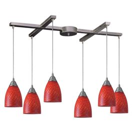 416-6SC Elk Arco Baleno 6 Light Pendant In Satin Nickel And Scarlet Red Glass