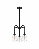 4294.25 Sonneman Chelsea Urban Edge 3-Arm Pendant with Satin Black Finish