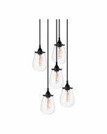 4295.25 Sonneman Chelsea Urban Edge 5-Light Pendant with Satin Black Finish