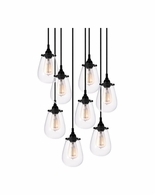 4298.25 Sonneman Chelsea Urban Edge 8-Light Pendant with Satin Black Finish