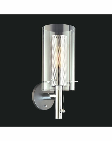4391.57 Sonneman Zylinder Contemporary Wall Sconce with Black & Chrome Finish