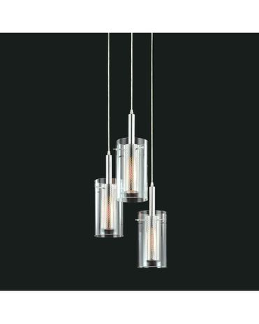 4395.57 Sonneman Zylinder Contemporary 3-Light Round Pendant with Black & Chrome Finish